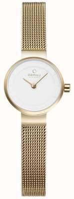 Obaku Womans malla de oro y un reloj de metal blanco V199LXGIMG