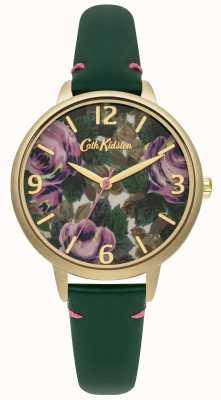 Cath Kidston Las señoras de cuero verde botella Oxford reloj rosa CKL001NG