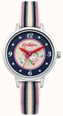 Cath Kidston Clifton damas subieron marcar correa multicolor tejida CKL007US
