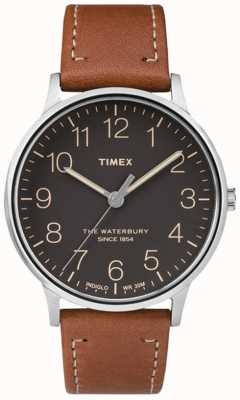 Timex Hombres waterbury clásico negro marrón correa TW2P95800