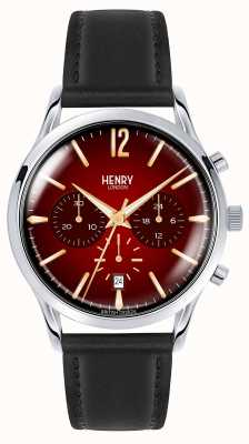 Henry London Correa de cuero negra de acero inoxidable para hombre de chancery Mens HL41-CS-0099