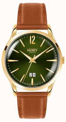 Henry London Correa de cuero curtida para hombre chiswick verde HL41-JS-0188
