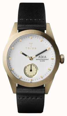 Triwa Womans Aska marfil de cuero negro AKST101-SS010113