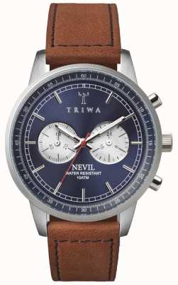Triwa Mens azul de acero del cronógrafo nevil cuero marrón NEST108-SC010216