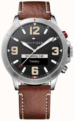 Tommy Hilfiger Th esfera de color negro correa de piel marrón SmartWatch 24/7 1791296