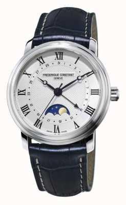 Frederique Constant Correa clásica de cuero azul marino Moonphase Classics FC-330MC4P6