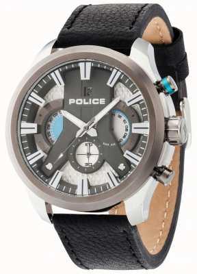 Police ciclón para hombre de cuero negro reloj de plata de la correa 14639JSTU/04