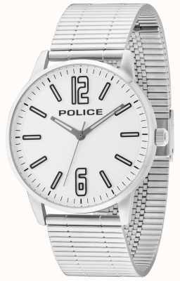 Police Para hombre de línea blanca billete de acero inoxidable Esquire 14765JS/04M