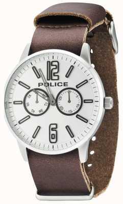 Police Mens Esquire x cuero marrón oscuro 14766JS/04