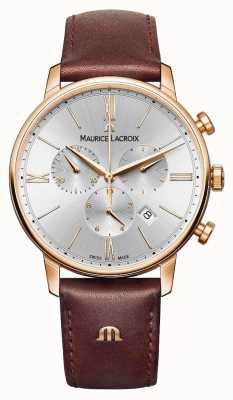 Maurice Lacroix Eliros 40mm reloj para hombre de cuero marrón rosa chapado en oro EL1098-PVP01-111-1