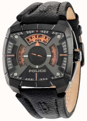 Police Mens g vigor esfera de color negro correa de cuero negro 14796JSU/02