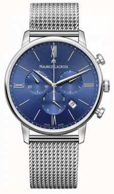 Maurice Lacroix azul de la correa de malla cronógrafo para hombre Eliros EL1098-SS002-410-1