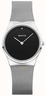 Bering Dial negro de malla de mujer clásico 12130-002