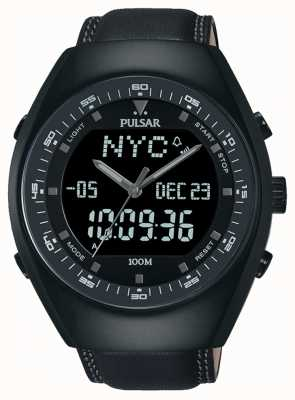 Pulsar Gents analógico / digital reloj de cuero negro PZ4019X1