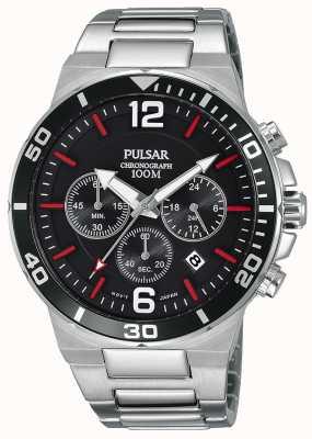 Pulsar Gents Reloj cronógrafo de acero inoxidable 100m PT3797X1