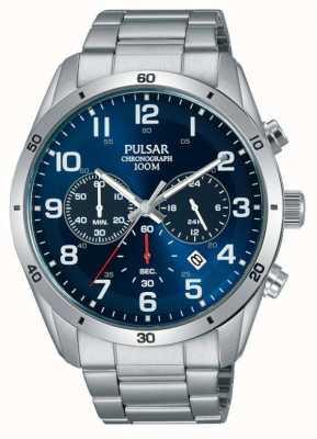 Pulsar Gents 100m acero inoxidable stell azul reloj crono de la cara PT3829X1
