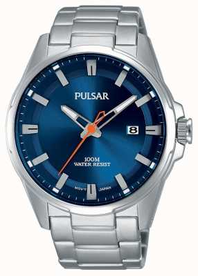 Pulsar Gents reloj de acero inoxidable cara azul PS9505X1