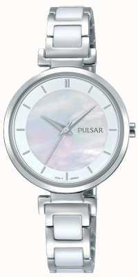 Pulsar Señoras de acero inoxidable de cerámica perla dial PH8269X1