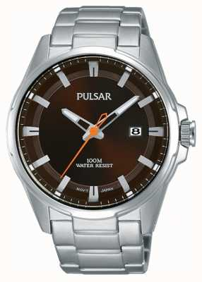 Pulsar Gents reloj de acero inoxidable marrón cara PS9507X1