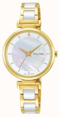 Pulsar Ladies oro plateado / vestido de cerámica reloj PH8272X1