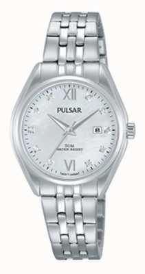 Pulsar Ladies cristal de acero inoxidable conjunto perla dial PH7453X1