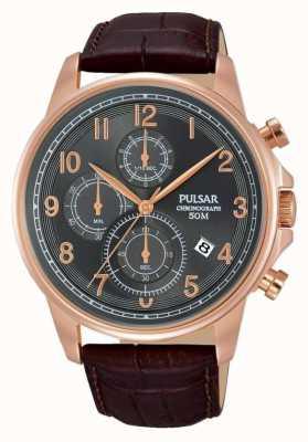 Pulsar Gents reloj de cuero marrón cronógrafo PM3083X1