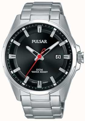Pulsar Gents reloj de acero inoxidable dial negro PS9509X1