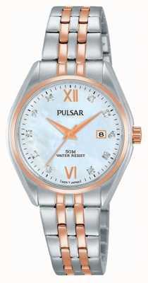 Pulsar Señoras reloj de dos tonos perla reloj PH7458X1
