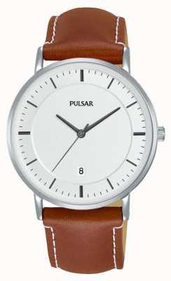 Pulsar Gents reloj de cuero marrón PG8253X1