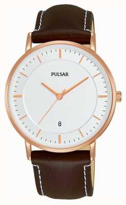 Pulsar Reloj de cuero marrón Gents PG8258X1