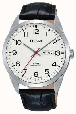 Pulsar Gents reloj de cuero negro clásico PJ6065X1