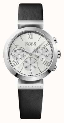 Hugo Boss Para mujer de cuero negro reloj de plata de la correa clásica deporte 1502395
