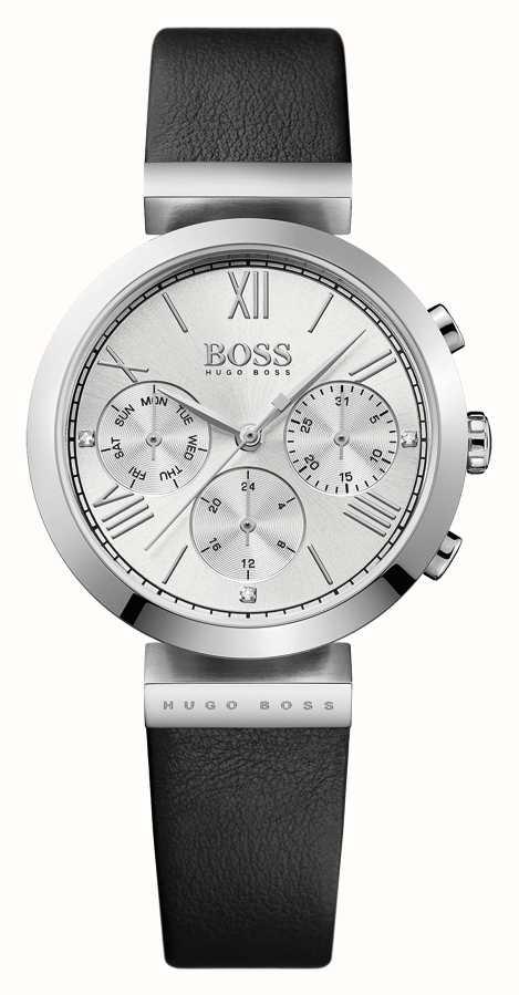 9b519987f8cb Hugo Boss Para Mujer De Cuero Negro Reloj De Plata De La Correa ...