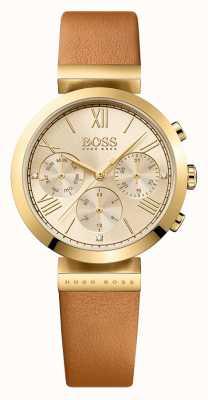Hugo Boss Esfera de oro para mujer de la correa de cuero marrón clásico deporte 1502396