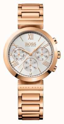 Hugo Boss Para mujer deportivo clásico chapado en oro rosa pulsera de reloj de plata 1502399