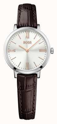 Hugo Boss Para mujer reloj de plata de la correa de cuero marrón Jillian 1502393