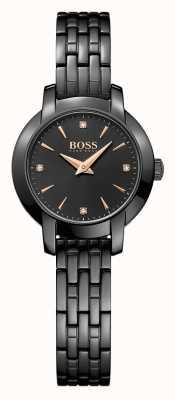 Hugo Boss Para mujer negro éxito plateado esfera de color negro brazalete de acero 1502387