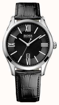 Hugo Boss embajador para hombre esfera de color negro correa de cuero negro 1513022
