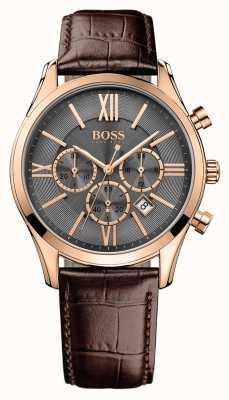Hugo Boss Mens embajador esfera gris correa de cuero marrón 1513198