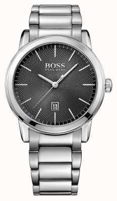 Hugo Boss Para hombre negro de línea de acero inoxidable clásico 1513398