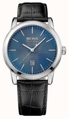 Hugo Boss Mens esfera azul correa de cuero negro clásico 1513400