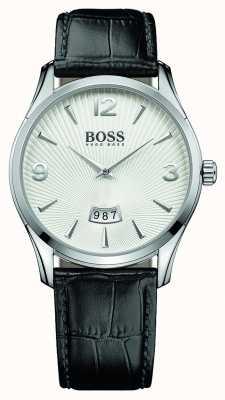 Hugo Boss comandante para hombre esfera blanca correa de cuero negro 1513449