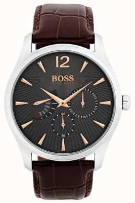Hugo Boss Mens comandante marrón correa de cuero gris dial 1513490