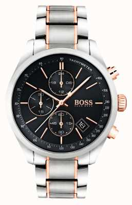 Hugo Boss Mens esfera de color negro pulsera de acero inoxidable Gran Premio 1513473