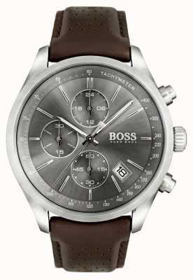 Hugo Boss Mens esfera gris correa de cuero marrón Gran Premio 1513476