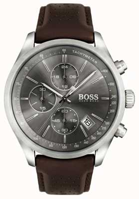 Boss Mens esfera gris correa de cuero marrón Gran Premio 1513476