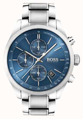 Hugo Boss Mens esfera azul de acero inoxidable Gran Premio 1513478