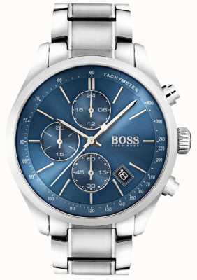 Boss Mens esfera azul de acero inoxidable Gran Premio 1513478