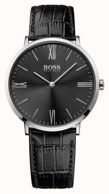 Hugo Boss Mens Jackson esfera de color negro correa de cuero negro 1513369