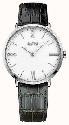 Hugo Boss Mens Jackson correa de cuero negro de línea blanca 1513370
